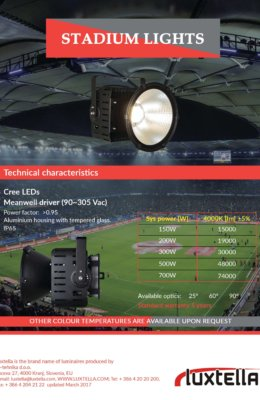 Luxtella LED stadium lights for stport events