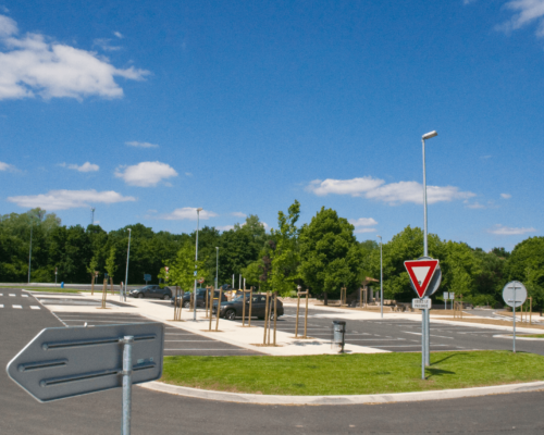 Parking lot in France with Luxtella street lamps